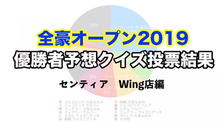 【全豪オープン2019優勝者予想クイズ】センティアWing店の投票結果を集計してみた!